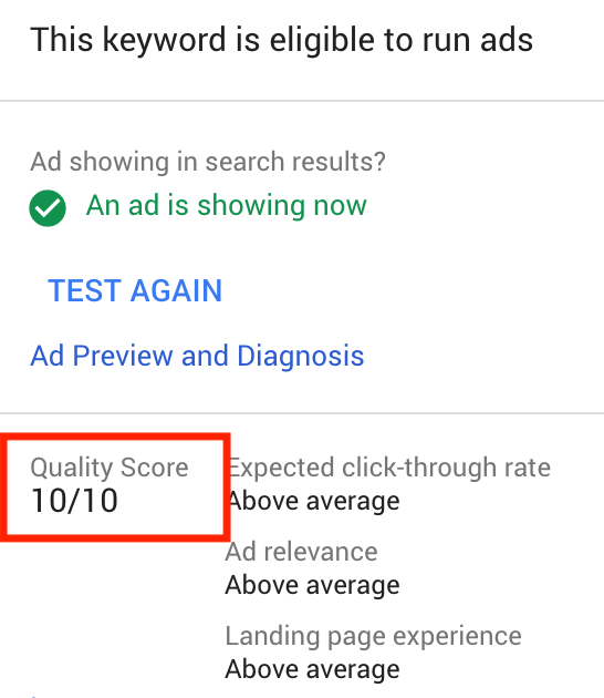 Quality Score Example