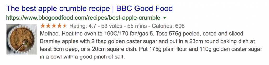 google rich snippet