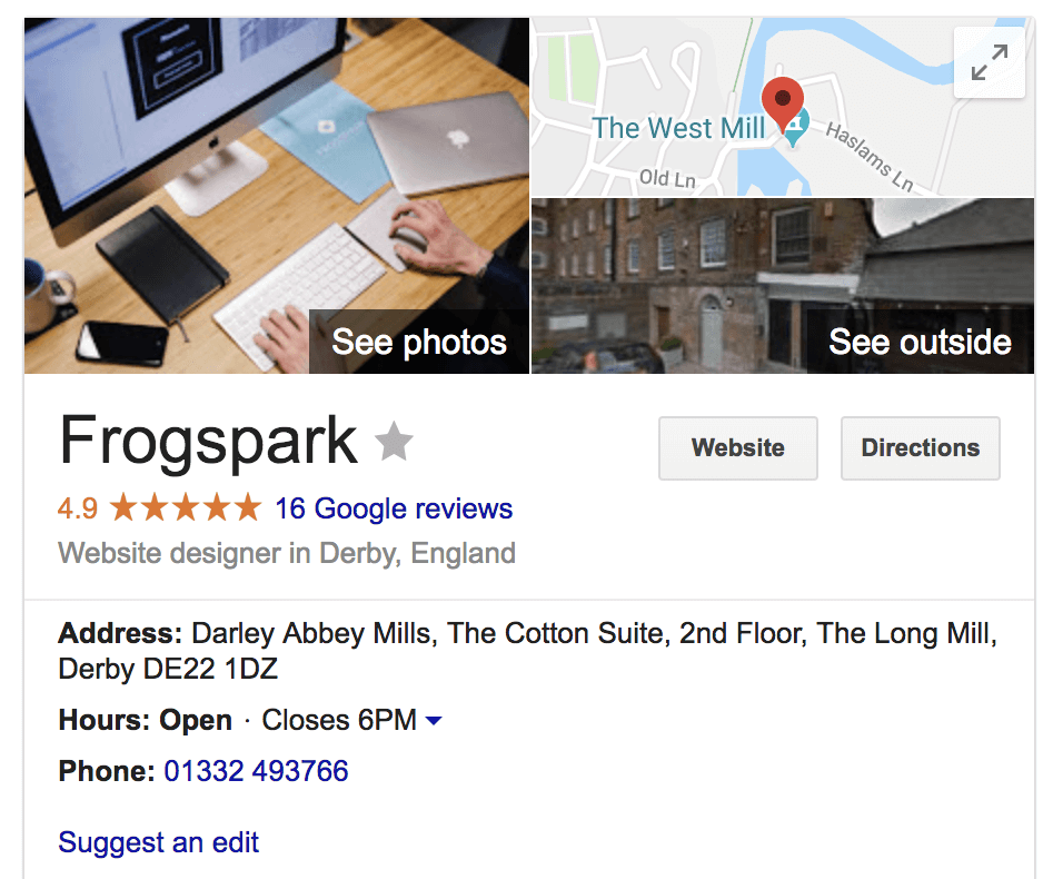 frogspark derby google my business