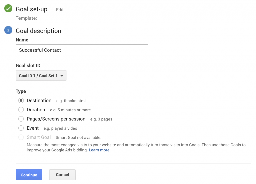 Setting Goals In Google Analytics