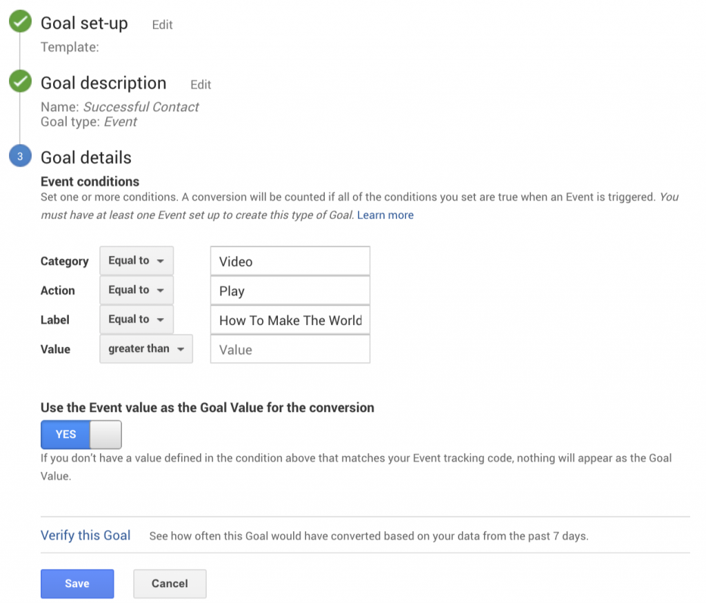 Google Analytics - Event Goal