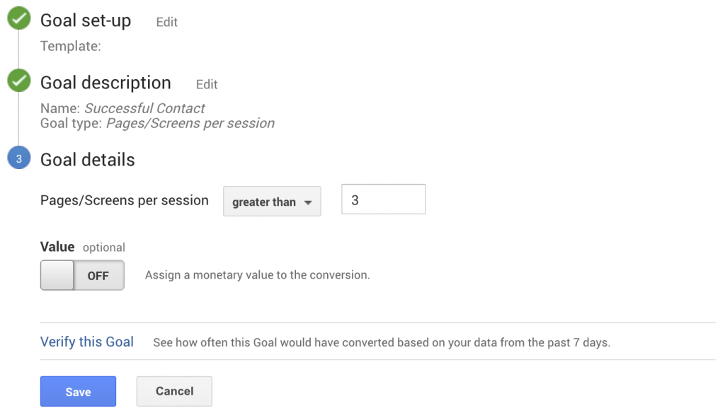 Google Analytics - Page Per Session Goal