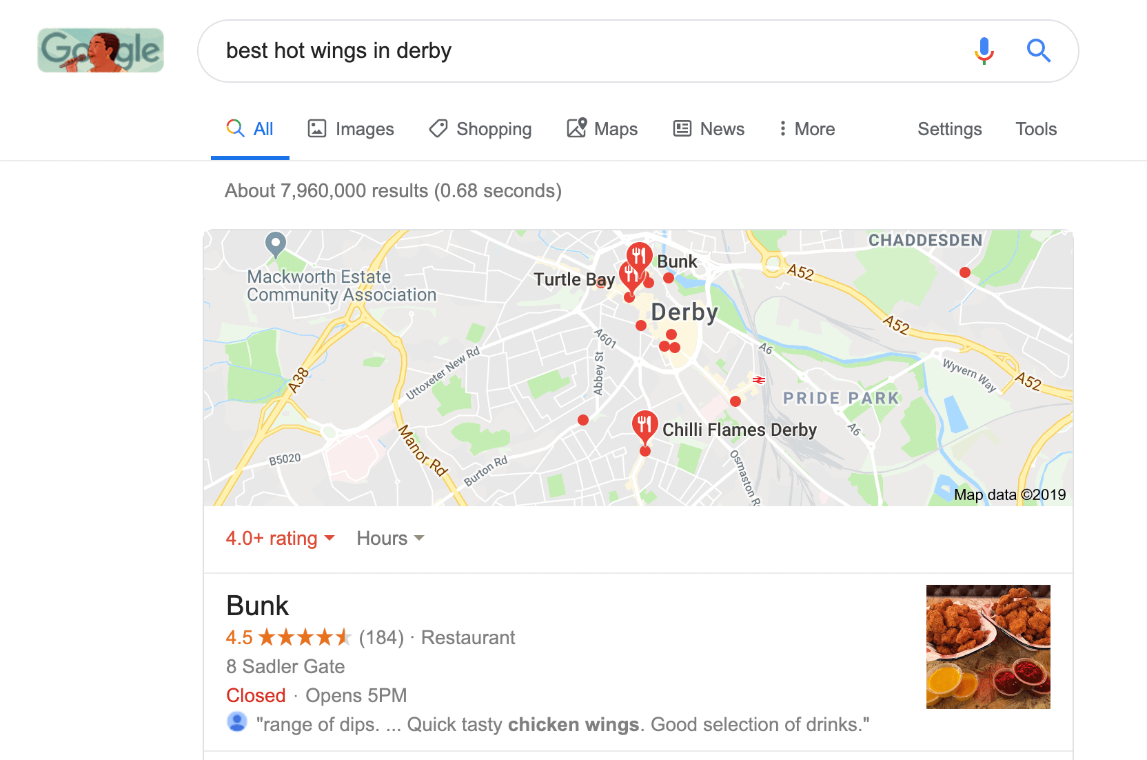 image of google search results showing best hot wings in derby to show LSI keywords