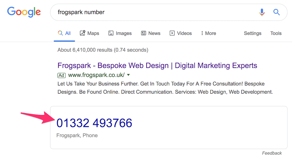 schema telephone number for local seo