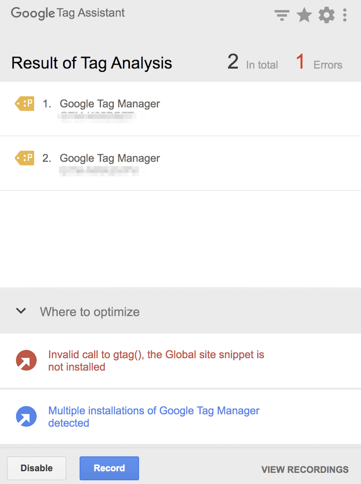tracking tag on google tag assistant