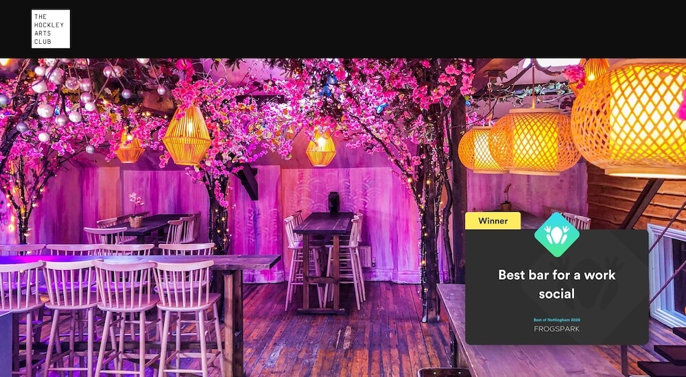Best of Nottingham 2020 - Frogspark Award - Web Design & Marketing Agency - Hockley Arts Club