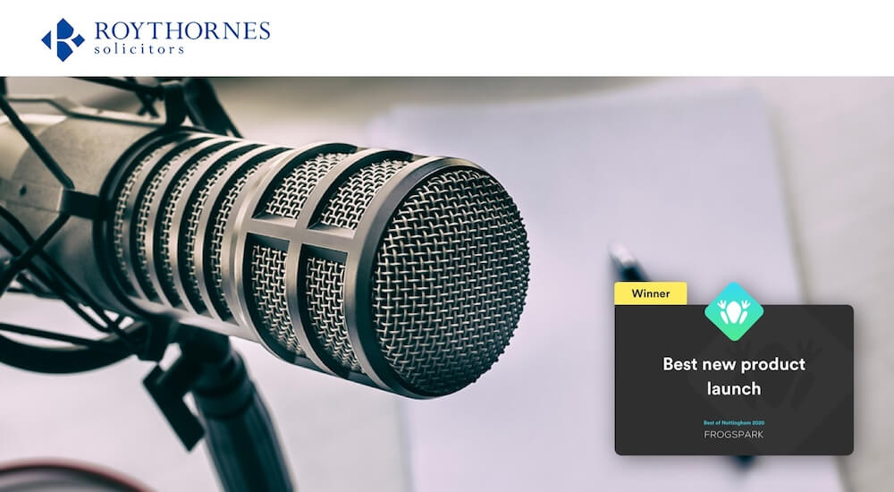 Best of Nottingham 2020 - Frogspark Award - Web Design & Marketing Agency - Roythornes