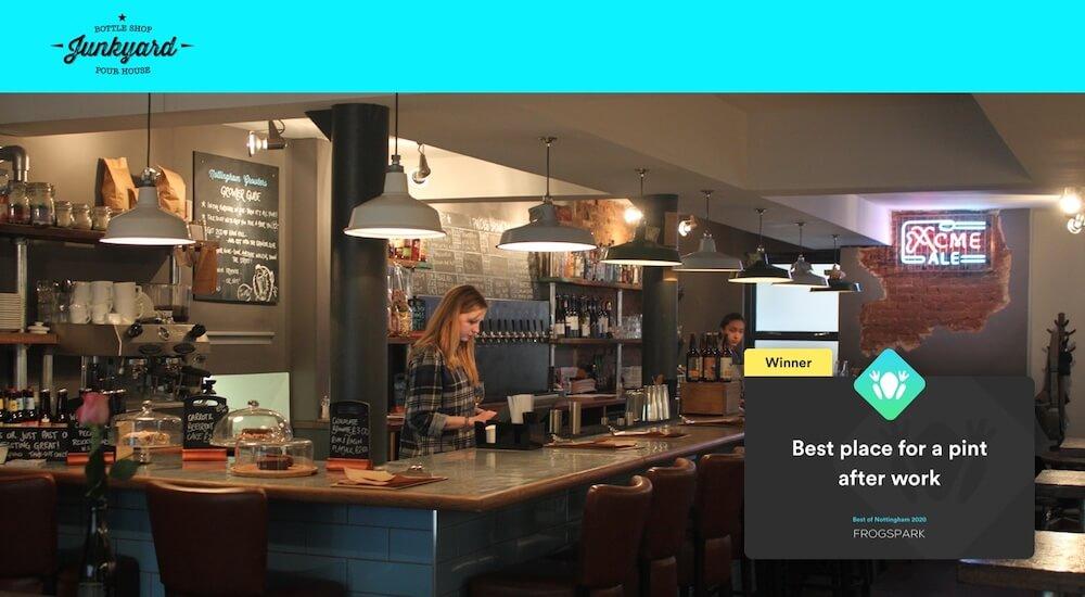 Best of Nottingham 2020 - Frogspark Award - Web Design & Marketing Agency - Junkyard