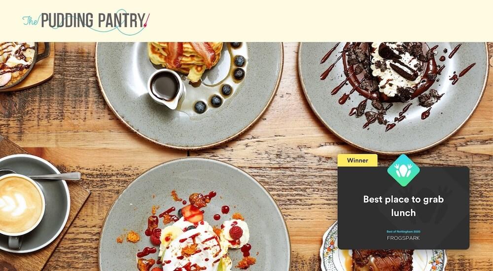 Best of Nottingham 2020 - Frogspark Award - Web Design & Marketing Agency - Pudding Pantry