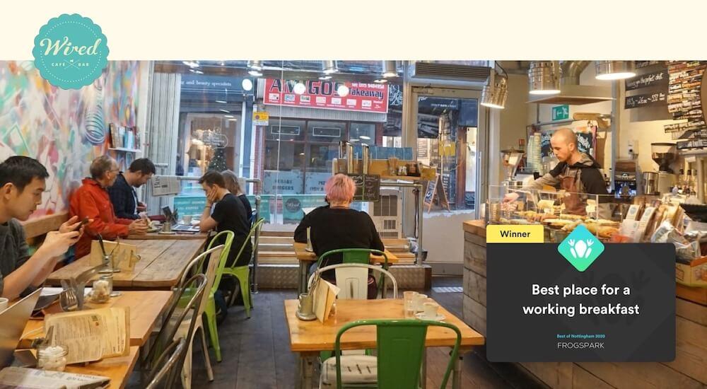 Best of Nottingham 2020 - Frogspark Award - Web Design & Marketing Agency - Wired Cafe