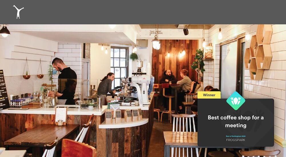Best of Nottingham 2020 - Frogspark Award - Web Design & Marketing Agency - Cartwheel Coffee