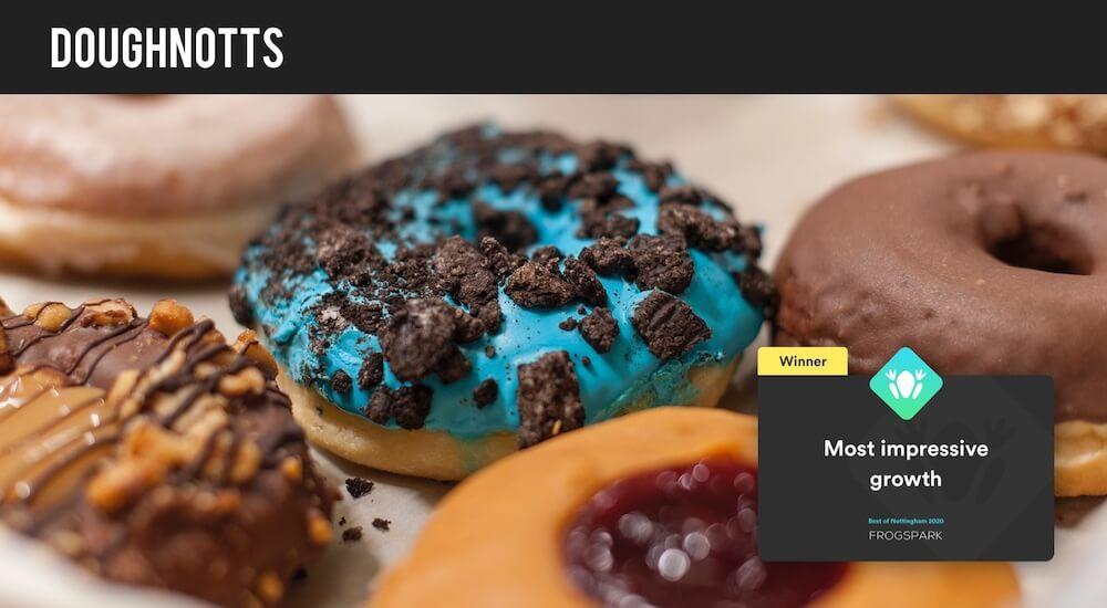 Best of Nottingham 2020 - Frogspark Award - Web Design & Marketing Agency - Doughnotts
