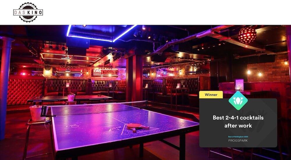 Best of Nottingham 2020 - Frogspark Award - Web Design & Marketing Agency - Das Kino