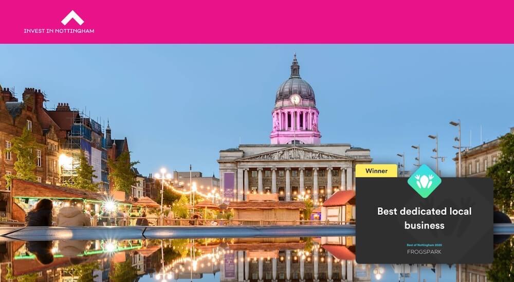 Best of Nottingham 2020 - Frogspark Award - Web Design & Marketing Agency - Invest in Nottingham
