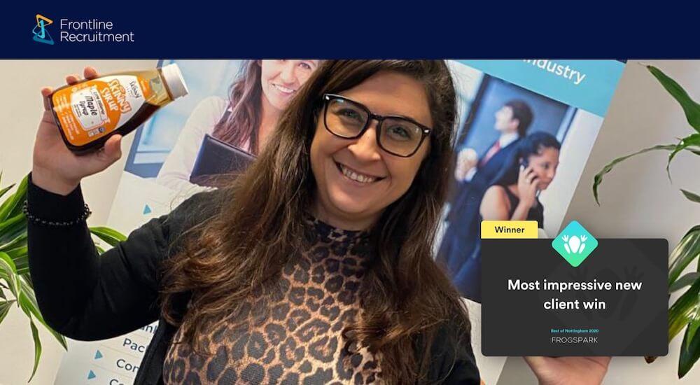 Best of Nottingham 2020 - Frogspark Award - Web Design & Marketing Agency - Frontline Recruitment