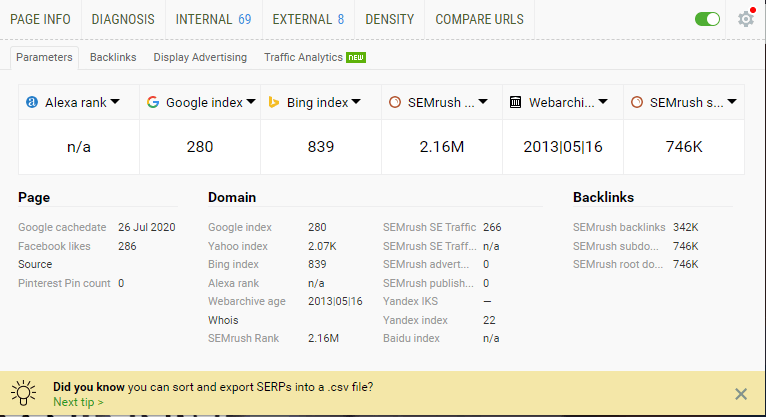 SEOQuake Frogspark Chrome Extensions